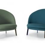 La coppia di poltroncine «Jules&Jim» di Claesson Koivisto Rune per Arflex   Due poltrone semplici, con un alto comfort di seduta. Jules è la versione piccola e Jim la versione più larga. Nonostante la differenza di grandezza, le due poltrone condividono la stessa forma (geometrie rotonde).