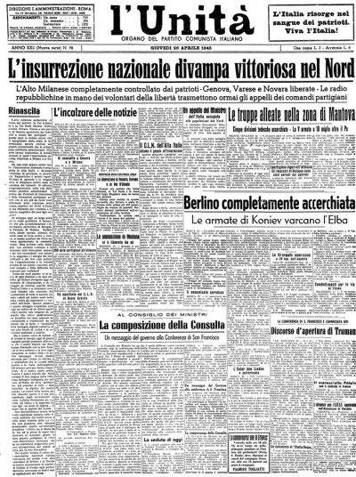 25 aprile 1945 ricordiamo la festa della liberazione for Resoconto tratto da articoli di giornali