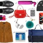 1_ Mocassini, BRUNO PREMI (€ 95)    2_ Ombrello, H2O  (€ 30)   3_ Cappello, TEZENIS (€ 8,90)   4_  Mini bag, TOSCABLU (€ 79)   5_ Frange per scarpe, CARLOTTAVIVALDICOUTURE  (€23)    6_ Phone case, KATE SPADENY (€35)    7_ Mantella camoscio, ZARA  (€79,90)   8_ Pendrive, SWAROVSKI (€50)   9_ Portachiavi pon pon, MICHAEL Michael Kors (€35)    10_ Agenda, PAOLO COELHO (€15)   11_ Trio tonici, LANCOME (€40)    12_ Borsa da lavoro, BORSETTERIA Napoli 1985  (€98)