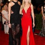 Karlie Kloss in Atelier Versace & Gigi Hadid in Diane von Furstenberg   Met Gala 2015