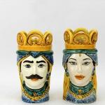 Coppia teste ceramica H.14 - Ceramiche Caltagirone € 39,00