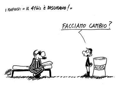 Vignetta di Altan, che riproduce il dialogo tra un mafioso e il piccolo Di Matteo, sciolto nell'acido